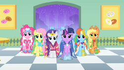 Main ponies at the donut shop S01E26