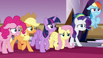 Mane Six nervously face down the guards S9E2