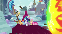 Ponies and friends see incoming blast S9E24