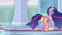 Princess Twilight walks past Luster Dawn S9E26