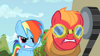 Rainbow Dash and Big McIntosh racing S2E15