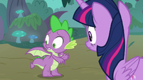 Spike looking back at his wings S8E11