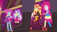 Sunset, Pinkie, and PostCrush look at guard EGSBP