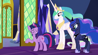 Twilight Sparkle scoffs at Luna's warning S9E13