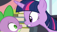 Twilight facing Spike S4E01