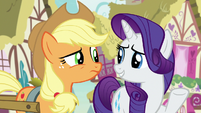 Applejack skeptical; Rarity innocently confused S7E9