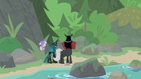 Cozy, Chrysalis, and Tirek facing the mountain S9E8