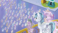 Crystal Spike, Shining Armor and Cadance overlooking Crystal Ponies S3E2