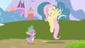 Happy Fluttershy hovers near Spike S01E01.png