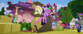 Harry hugging Fluttershy, Twilight, and Spike MLPTM.png
