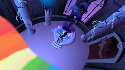 Nightmare Moon about to get hit by the beam S1E2