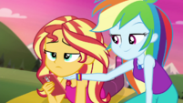 Rainbow Dash lifts up Sunset's chin CYOE11b