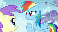 Rainbow Dash thinking of another excuse S7E14