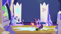 Spike, Rarity and Twilight in the throne room EG2
