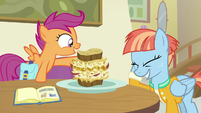 Windy Whistles embarrassed by Scootaloo's words S7E7