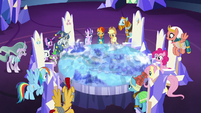 Mane Six and Pillars gather in Twilight's throne room S7E26