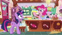 Pinkie Pie holding several bowls of ingredients S7E23