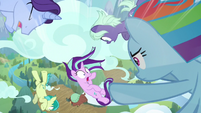 Rainbow Dash diving to save Starlight S8E25
