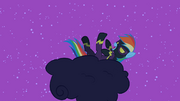 Rainbow Dash rolling on the cloud laughing S2E04