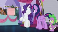 "Rarity ""revolves around the royal element of Canterlot!"" S5E14"