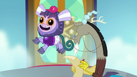 School marmoset floats next to Discord S8E15