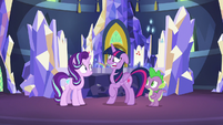Twilight Sparkle gives Starlight a nervous laugh S7E10