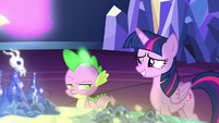 Twilight Sparkle looks embarrassed at Spike S7E15