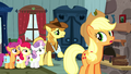 Applejack and CMC hear Braeburn S5E6.png
