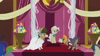 Cranky, Matilda, and Mayor Mare at the altar S5E9