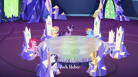 Mane Six assembled in the throne room S6E15