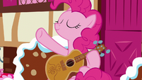 Pinkie Pie continues strumming her guitar S7E9