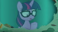 Pony Sci-Twi looking at her hooves EGSB
