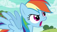 Rainbow Dash shouting --faster!-- S6E18