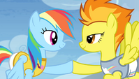 Rainbow and Spitfire hoof-bump S4E24