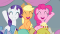 Rarity, AJ, and Pinkie cheering S4E24.png