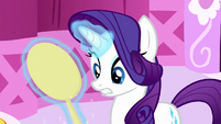 Rarity looking at the cracked mirror S8E18