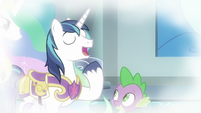 Shining Armor bragging in flashback S9E4