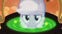 The Spirit of Hearth's Warming Past reveals herself under the cauldron S06E08