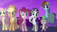 The main cast beholding Twilight Sparkle's transformation into an Alicorn S3E13