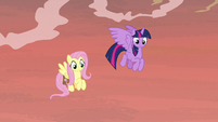 Twilight and Fluttershy look down at the bayou S7E20