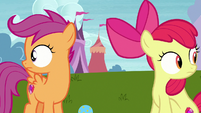 Apple Bloom and Scootaloo hear Ripley barking S7E6