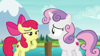 Apple Bloom and Sweetie Belle getting an idea S7E21