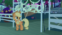 Applejack unfurling a wall of netting S9E10