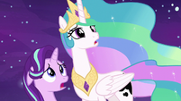 Celestia and Starlight shocked by Daybreaker S7E10