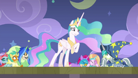Celestia looking embarrassed at Young Six S8E7