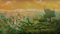 Everfree vines creep slowly toward Ponyville S9E2