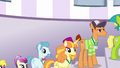 Line of delegates outside Twilight's tower S5E10.png