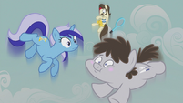 Minuette, Ace, and Truffle flying upward S5E9