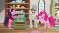 Pinkie Pie face-hoofs at Mudbriar S8E3