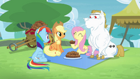 Rainbow, Applejack, Fluttershy and Bulk together S4E10